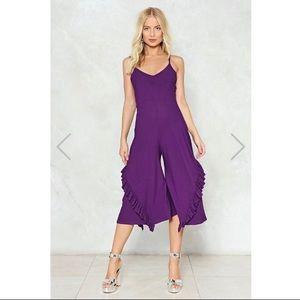 Nasty Gal Purple Ruffle Culotte Jumpsuit Size 2